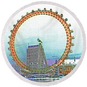London Eye Art Round Beach Towel