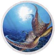 Hawaii, Day Octopus Round Beach Towel