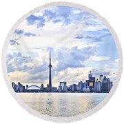 Toronto Skyline Round Beach Towel by Elena Elisseeva