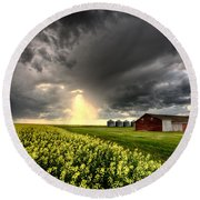 Storm Clouds Saskatchewan Round Beach Towel