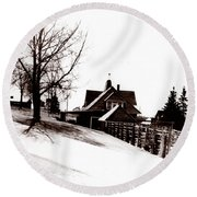 1900 Farm Home Round Beach Towel