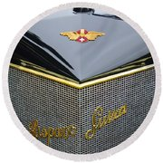 1912 Hispano-suiza 15-45 Hp Alfonso Xiii Jaquot Torpedo Grille Round Beach Towel