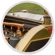 1912 Mercer Model 35 C Raceabout Engine And Motometer Round Beach Towel