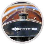 1913 Pathfinder Touring Hood Ornament Round Beach Towel