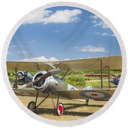 1916 Sopwith Pup Airplane On Airfield Poster Print Round Beach Towel