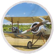 1916 Sopwith Pup Biplane On Airfield Canvas Photo Poster Print Round Beach Towel
