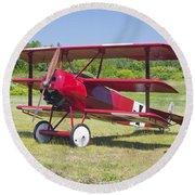 1917 Fokker Dr.1 Triplane Red Barron Canvas Photo Print Poster Round Beach Towel
