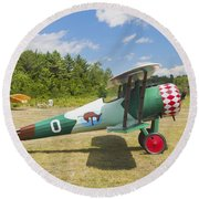 1917 Nieuport 28c.1 Antique Fighter Biplane Canvas Photo Poster Print Round Beach Towel