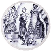 1920s British Fashions Round Beach Towel