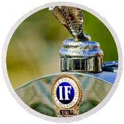 1924 Isotta-fraschini Tipo 8 Torpedo Phaeton Hood Ornament Round Beach Towel