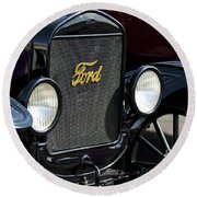 1925 Ford Model T Coupe Grille Round Beach Towel