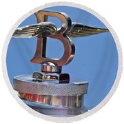 1927 Bentley 6.5 Liter Sports Tourer Hood Ornament Round Beach Towel