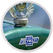 1928 Chevrolet Stake Bed Pickup Hood Ornament Round Beach Towel