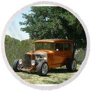 1929 Ford Butter Scorch Orange Round Beach Towel by Jack Pumphrey
