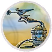 1929 Packard Hood Ornament Round Beach Towel
