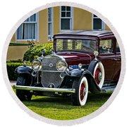 1931 Cadillac V12 Round Beach Towel
