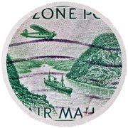 1931 Canal Zone Stamp Round Beach Towel