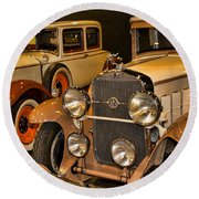 1931 La Salle Series 345r And 1929 Packard Roadster Round Beach Towel
