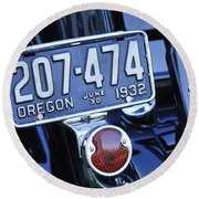 1932 Ford Model 18 Roadster Hotrod Taillight Round Beach Towel