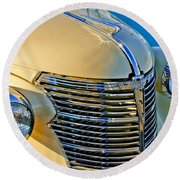 1933 Chevrolet Grille And Headlights Round Beach Towel