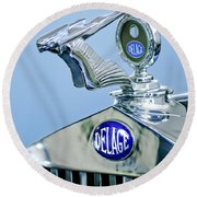 1933 Delage D8s Coupe Hood Ornament Round Beach Towel