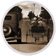 1934 Chevy And Today's Horse And Buggy By Randall Branham Round Beach Towel
