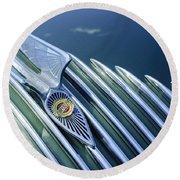 1934 Chrysler Airflow Hood Ornament Round Beach Towel