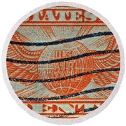 1934 U. S. Air Mail Dull Orange Stamp Round Beach Towel