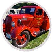 1935 Dodge Firetruck Round Beach Towel
