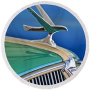 1935 Hudson Touring Sedan Hood Ornament Round Beach Towel