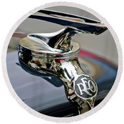 1935 Reo Speedwagon Pickup Hood Ornament Round Beach Towel