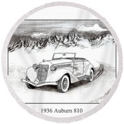 1936 Auburn 810 Round Beach Towel by Jack Pumphrey