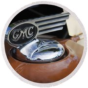 1936 Gmc Pickup Truck Hood Ornament Round Beach Towel