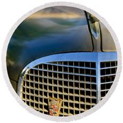1937 Cadillac Hood Ornament And Grille Round Beach Towel
