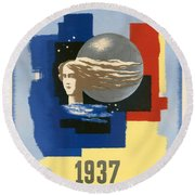 1937 Paris Exposition Round Beach Towel