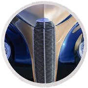 1940 Cadillac Lasalle Convertible Grille Round Beach Towel
