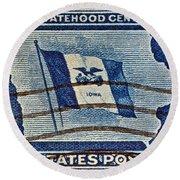 1946 Iowa Statehood Stamp Round Beach Towel