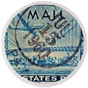 1946 Oakland Bay Bridge Air Mail Stamp Round Beach Towel