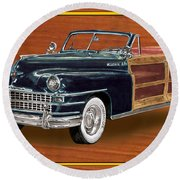 1948 Chrysler Town And Country Round Beach Towel