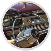 1949 Cadillac Sedanette Steering Wheel Round Beach Towel