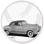 1951 Chevrolet Coupe Round Beach Towel