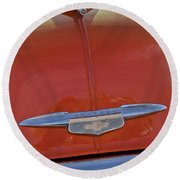 1951 Chevrolet Sedan Delivery Hood Ornament Round Beach Towel