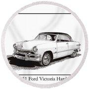 1951 Ford Victoria Hardtop Round Beach Towel