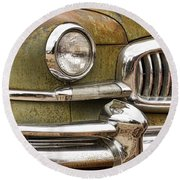 1951 Nash Ambassador Front End Closeup Round Beach Towel