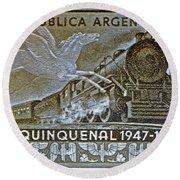 1951 Republica Argentina Stamp Round Beach Towel