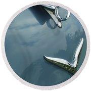 1952 Chrysler Saratoga Coupe Hood Ornament Round Beach Towel