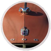 1952 Dodge Ram Hood Ornament 3 Round Beach Towel