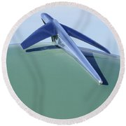 1952 Ford Wagon Hood Ornament Round Beach Towel
