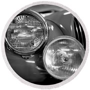 1952 Jaguar Headlights Round Beach Towel