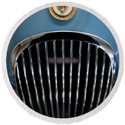 1952 Jaguar Hood Ornament And Grille Round Beach Towel